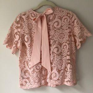Nanette Lepore blush lace pink bow blouse